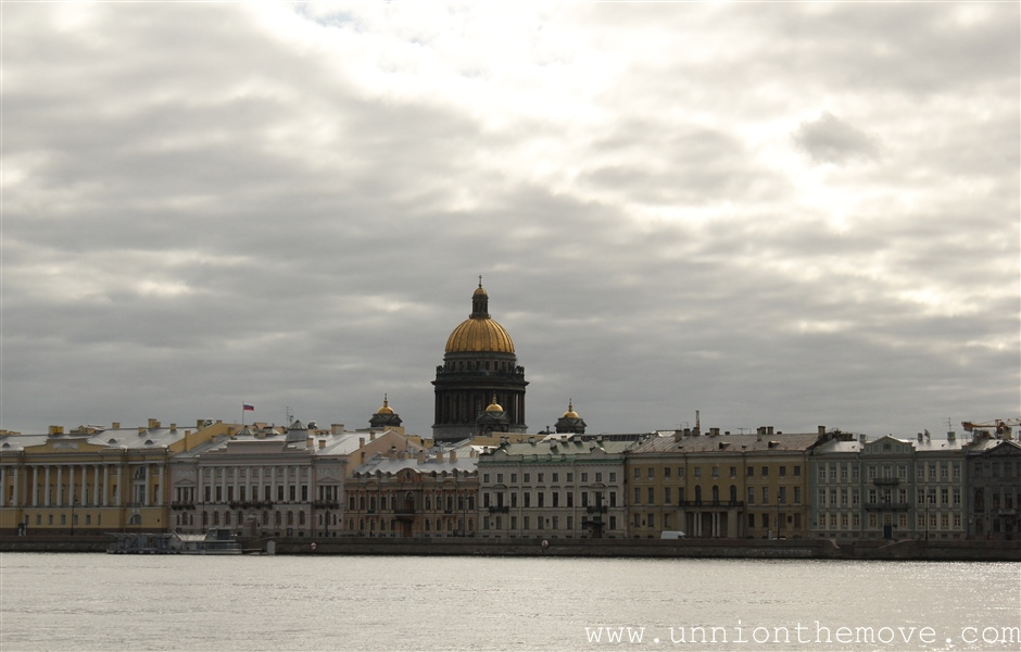 St. Issacs Cathedrals dome, with neva river in upfront