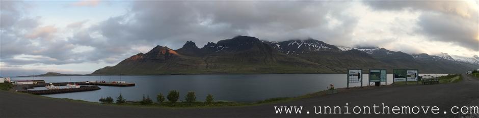 The panoramic view of the fishing town Stöðvarfjörður