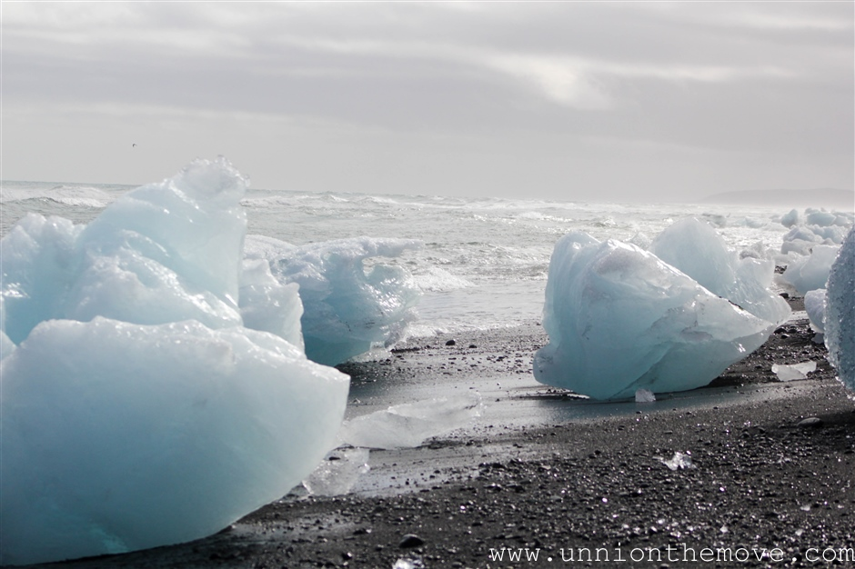 icebergs washed up on the black sand beaches