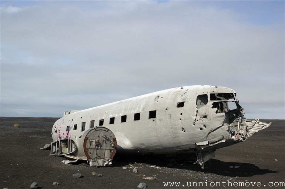 The isolated plane crash location in the south of Iceland