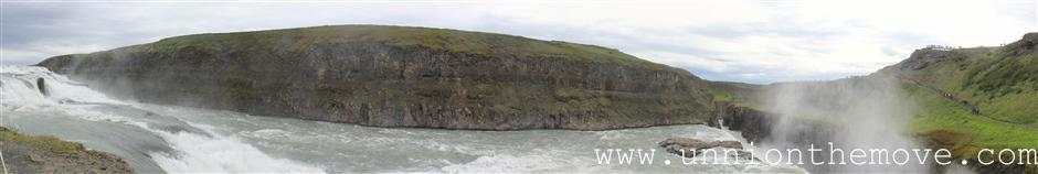 The panoramic view of the Gulfoss waterfall